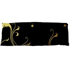 Golden Flowers And Leaves On A Black Background Body Pillow Case Dakimakura (Two Sides)