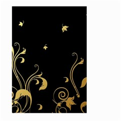 Golden Flowers And Leaves On A Black Background Large Garden Flag (Two Sides)