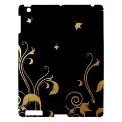Golden Flowers And Leaves On A Black Background Apple iPad 3/4 Hardshell Case