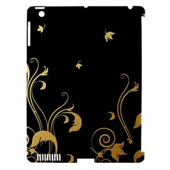 Golden Flowers And Leaves On A Black Background Apple Ipad 3/4 Hardshell Case (compatible With Smart Cover)