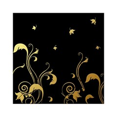 Golden Flowers And Leaves On A Black Background Acrylic Tangram Puzzle (6  X 6 )