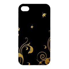 Golden Flowers And Leaves On A Black Background Apple iPhone 4/4S Premium Hardshell Case