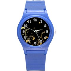 Golden Flowers And Leaves On A Black Background Round Plastic Sport Watch (s)