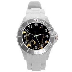 Golden Flowers And Leaves On A Black Background Round Plastic Sport Watch (L)