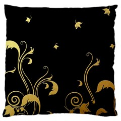 Golden Flowers And Leaves On A Black Background Large Cushion Case (one Side)
