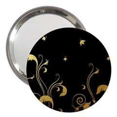 Golden Flowers And Leaves On A Black Background 3  Handbag Mirrors