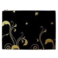 Golden Flowers And Leaves On A Black Background Cosmetic Bag (XXL)