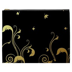 Golden Flowers And Leaves On A Black Background Cosmetic Bag (XXXL)