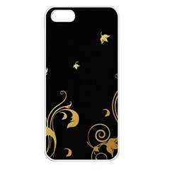 Golden Flowers And Leaves On A Black Background Apple Iphone 5 Seamless Case (white)