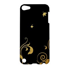 Golden Flowers And Leaves On A Black Background Apple Ipod Touch 5 Hardshell Case