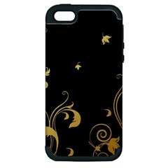 Golden Flowers And Leaves On A Black Background Apple iPhone 5 Hardshell Case (PC+Silicone)