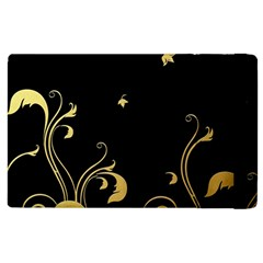 Golden Flowers And Leaves On A Black Background Apple iPad 2 Flip Case
