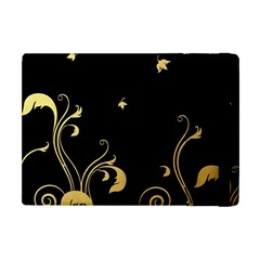 Golden Flowers And Leaves On A Black Background Apple iPad Mini Flip Case