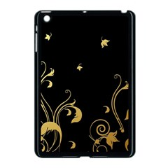 Golden Flowers And Leaves On A Black Background Apple Ipad Mini Case (black)