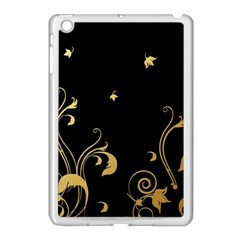 Golden Flowers And Leaves On A Black Background Apple Ipad Mini Case (white)