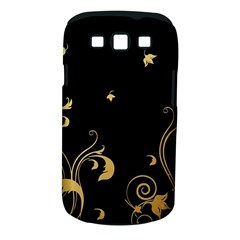 Golden Flowers And Leaves On A Black Background Samsung Galaxy S III Classic Hardshell Case (PC+Silicone)