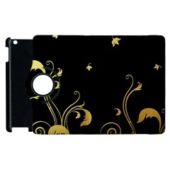 Golden Flowers And Leaves On A Black Background Apple iPad 2 Flip 360 Case