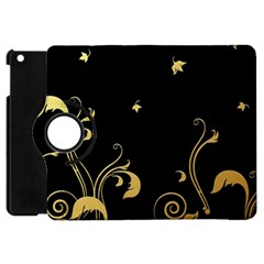 Golden Flowers And Leaves On A Black Background Apple Ipad Mini Flip 360 Case