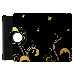 Golden Flowers And Leaves On A Black Background Kindle Fire HD 7