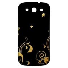 Golden Flowers And Leaves On A Black Background Samsung Galaxy S3 S III Classic Hardshell Back Case
