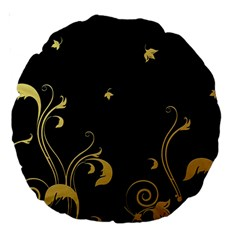 Golden Flowers And Leaves On A Black Background Large 18  Premium Round Cushions
