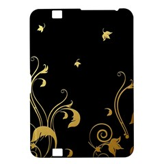 Golden Flowers And Leaves On A Black Background Kindle Fire HD 8.9