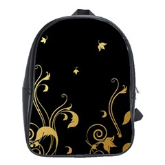 Golden Flowers And Leaves On A Black Background School Bags (XL)