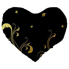 Golden Flowers And Leaves On A Black Background Large 19  Premium Heart Shape Cushions