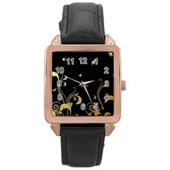 Golden Flowers And Leaves On A Black Background Rose Gold Leather Watch