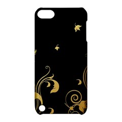 Golden Flowers And Leaves On A Black Background Apple iPod Touch 5 Hardshell Case with Stand
