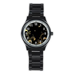 Golden Flowers And Leaves On A Black Background Stainless Steel Round Watch