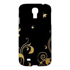 Golden Flowers And Leaves On A Black Background Samsung Galaxy S4 I9500/I9505 Hardshell Case