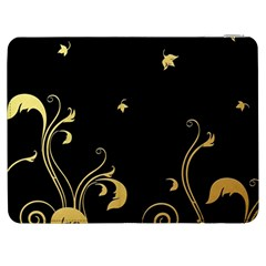 Golden Flowers And Leaves On A Black Background Samsung Galaxy Tab 7  P1000 Flip Case