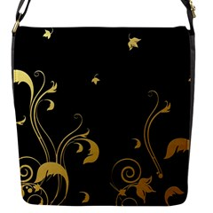 Golden Flowers And Leaves On A Black Background Flap Messenger Bag (S)