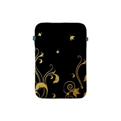 Golden Flowers And Leaves On A Black Background Apple Ipad Mini Protective Soft Cases