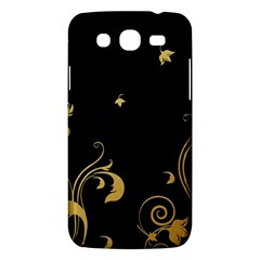 Golden Flowers And Leaves On A Black Background Samsung Galaxy Mega 5 8 I9152 Hardshell Case