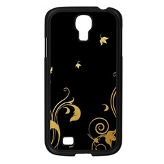 Golden Flowers And Leaves On A Black Background Samsung Galaxy S4 I9500/ I9505 Case (black)