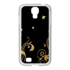Golden Flowers And Leaves On A Black Background Samsung Galaxy S4 I9500/ I9505 Case (white)