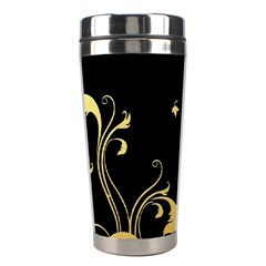 Golden Flowers And Leaves On A Black Background Stainless Steel Travel Tumblers