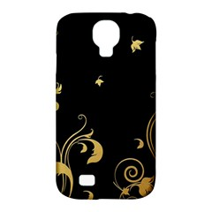 Golden Flowers And Leaves On A Black Background Samsung Galaxy S4 Classic Hardshell Case (PC+Silicone)