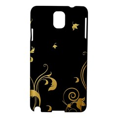 Golden Flowers And Leaves On A Black Background Samsung Galaxy Note 3 N9005 Hardshell Case