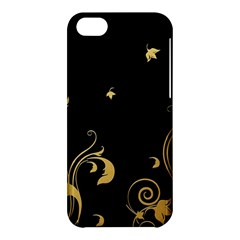 Golden Flowers And Leaves On A Black Background Apple Iphone 5c Hardshell Case