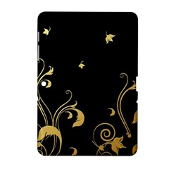 Golden Flowers And Leaves On A Black Background Samsung Galaxy Tab 2 (10.1 ) P5100 Hardshell Case