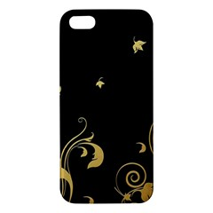 Golden Flowers And Leaves On A Black Background Iphone 5s/ Se Premium Hardshell Case