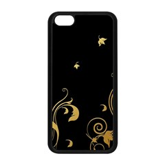 Golden Flowers And Leaves On A Black Background Apple iPhone 5C Seamless Case (Black)