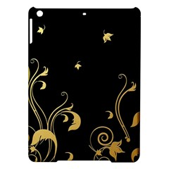 Golden Flowers And Leaves On A Black Background Ipad Air Hardshell Cases