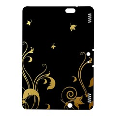 Golden Flowers And Leaves On A Black Background Kindle Fire Hdx 8 9  Hardshell Case