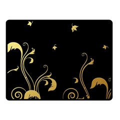 Golden Flowers And Leaves On A Black Background Double Sided Fleece Blanket (small)