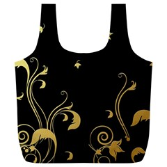 Golden Flowers And Leaves On A Black Background Full Print Recycle Bags (L)