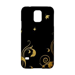 Golden Flowers And Leaves On A Black Background Samsung Galaxy S5 Hardshell Case